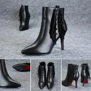 东帝名坊新款流苏短靴女高跟马丁靴尖头细跟鞋及踝靴女鞋