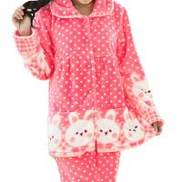 加厚秋冬法兰绒哺乳衣喂奶衣月子服套装