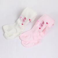 Yinbeler儿童婴儿连裤袜春秋冬款女童打底裤白色粉红舞蹈袜刺绣宝宝袜子长筒丝袜