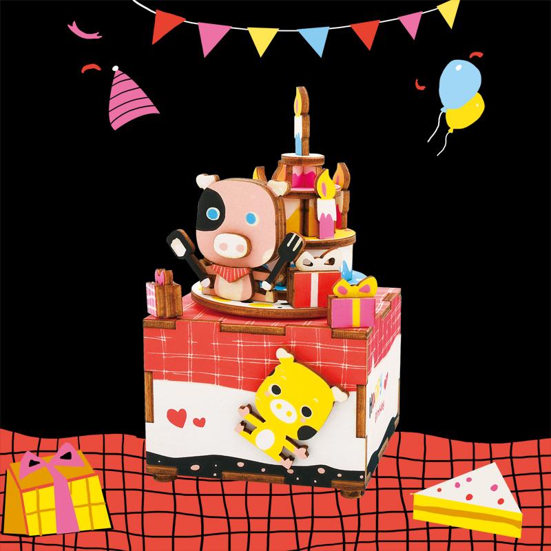若态音乐盒 3d立体拼图 拼装儿童生日礼物木质diy八音盒甜心物语