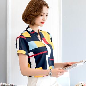 2017夏季印花格子衬衫女短袖韩版新款上衣V领修身职业装