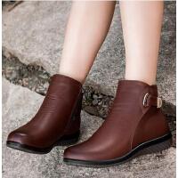 冬季真皮加绒保暖防滑大码鞋中老年人短靴老人妈妈鞋 棉鞋中年女鞋
