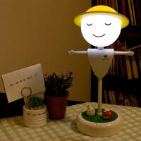 御目 稻草人微景观小夜灯触碰感应led新奇特睡眠创意USB家居可充电台灯