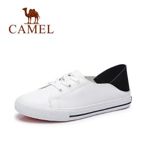Camel/骆驼女鞋 2017春季新款 休闲舒适系带小白鞋 复古简约春鞋
