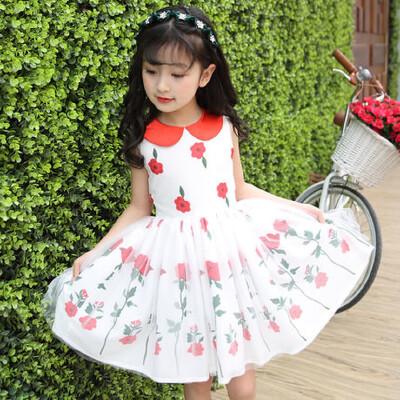 女童时尚短袖碎花连衣裙子儿童公主裙小女孩衣服