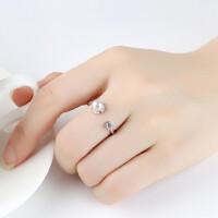 纯银珍珠戒指女简约个性食指学生清新闺蜜指环创意饰品潮人 支持礼品卡支付