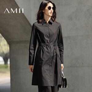 【预售】Amii2017春简洁翻领长袖棉质纯色配腰带连衣裙11770257