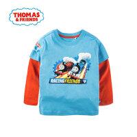 托马斯童装正版授权春季新款男童长袖T恤薄款打底衫中大童时尚撞色拼接体恤衫托马斯和朋友