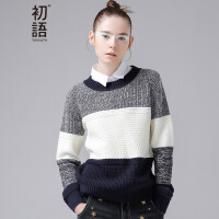 初语冬季新款 混织撞色宽松圆领长袖有弹力毛织毛衣女8640423036