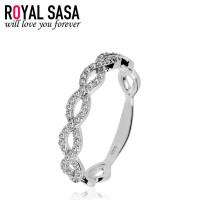 皇家莎莎925银戒指饰品女士日韩版潮流创意仿水晶微镶指环送女友