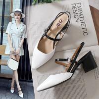 专柜同款【玛丽珍鞋】夏季新款一字扣带包头凉鞋女粗跟高跟鞋尖头女鞋Y22