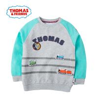 托马斯童装正版授权春季新款男童时尚插肩袖百搭休闲卡通套头卫衣T恤
