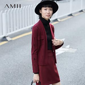 【AMII超级大牌日】[极简主义] 2017年春装新款镂空V领修身针织开衫毛衣女11672877