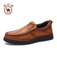骆驼牌 新品男鞋套脚复古手工缝线鞋男士舒适柔软耐磨休闲鞋