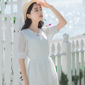 波柏龙 春季新款唯美纯色文艺连衣裙