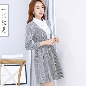 一米阳光2017春款韩版衬衫连衣裙女长袖收腰中长款裙子