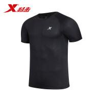特步运动T恤 2017春夏轻便透气吸湿排汗弹性短袖跑步健身男子上衣883129019110