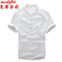 茉蒂菲莉 中老年男装 亚麻立领薄款T恤衫中国风夏季新款男士休闲时尚舒适短袖爸爸服装时尚半袖男式成人套头宽松大码衬衫上衣