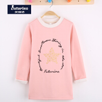 芙瑞诺童装春新款女童长袖T恤加绒打底衫韩版中长款圆领卫衣上衣