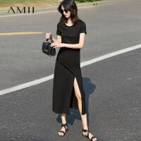 Amii[极简主义]2017夏女新纯色短袖高开叉修身大码连衣裙11741403