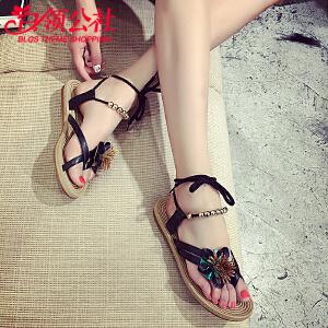 白领公社 凉鞋 女2017夏季新款韩版女式罗马平底波西米亚绑带鞋子简约夹趾花朵女士沙滩鞋学生时尚女鞋