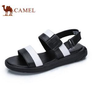 camel骆驼男鞋 2017夏季新品 舒适时尚休闲凉鞋魔术贴露趾沙滩拖鞋