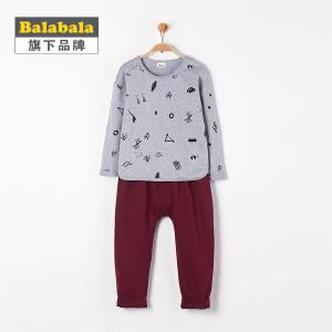 【6.26巴拉巴拉超级品牌日】巴拉巴拉旗下 巴帝巴帝儿童套装2017春男女童满印撞色韩风两件套
