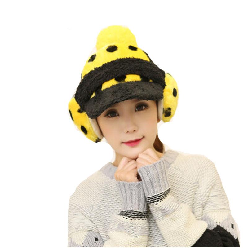 冬季帽子可爱加绒潮鸭舌帽保暖秋冬护耳学生女冬天棒球帽_黄色,均码