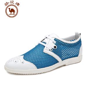 骆驼牌男鞋 时尚网面鞋 透气网布鞋 系带低帮鞋 舒适
