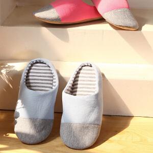 优雅100 韩版可折叠便携式情侣款针织软底拖鞋 女款均码