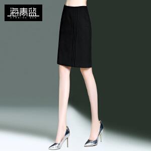 海青蓝2017春季新款通勤纯色修身包臀裙子OL气质一步裙半身裙8565