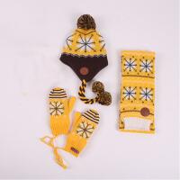 秋冬儿童保暖帽子围巾手套三件套套装一体男童女童