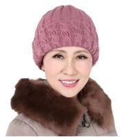 中老年女帽子秋冬护耳保暖休闲妈妈针织帽老人帽女奶奶帽