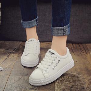 春季新品时尚女单鞋圆头系带平底小白鞋潮鞋休闲鞋百搭学院风学生板鞋