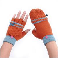 儿童半指手套女冬可爱翻盖秋冬保暖上网写字游戏学生露指手套