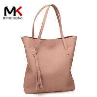 莫尔克(MERKEL)2017春夏季新款女包潮流欧美风女单肩包时尚休闲手提包简约大包包购物袋