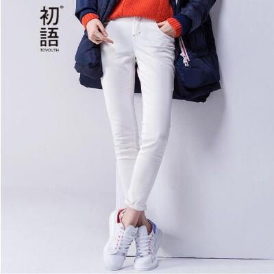 初语春季新款 基础款净色紧身显瘦休闲长裤女8631902728