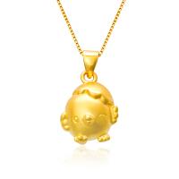 芭法娜 萌萌鸡 3D硬金足金黄金小鸡吊坠 本命年礼物 生肖鸡 送银项链一条
