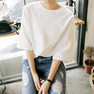 波柏龙 纯色五分袖夏装韩版百搭圆领套头T恤宽松中袖体恤