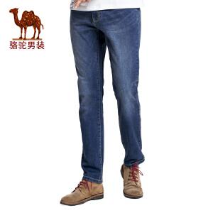 骆驼男装 2017春季新款时尚男士商务休闲牛仔裤拉链中腰长裤子男