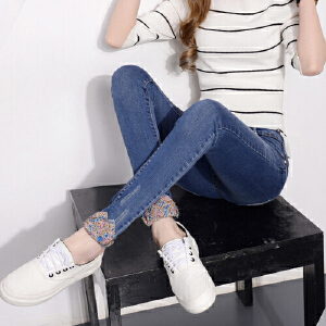 修身显瘦女士牛仔裤子春秋季个性两穿翻边长裤简约学生小脚铅笔裤