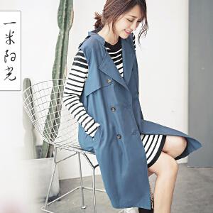 一米阳光2017春装新款韩版牛仔风衣马甲女无袖中长款外套