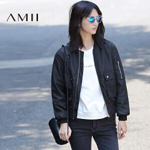 【AMII超级大牌日】[极简主义]2017年春女纯色绒毛里工装袋拉链机车短外套21674391