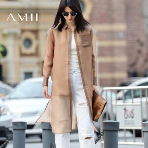 【AMII超级大牌日】[极简主义]2017年春新透视纯色欧根纱宽松外套长衬衫女11682151