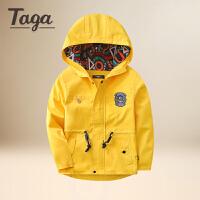 TAGA儿童外套男春秋新款中大童风衣男童大衣拉链衫男孩外套梭织上衣