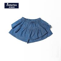【满200减100】芙瑞诺童装女童夏季新品时尚棉质牛仔荷叶边短裤裙