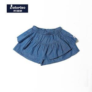 [满200减100]芙瑞诺童装女童夏装时尚棉质牛仔荷叶边短裤裙