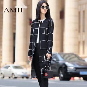 【AMII超级大牌日】[极简主义]2017年春季中长款黑色开衫个性毛衣外套女11681814
