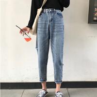 茉蒂菲莉 牛仔裤 女款2017夏季新款高腰牛仔短裤女式修身显瘦百搭卷边大码宽松热裤子
