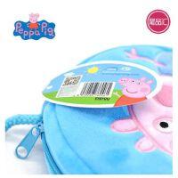 小猪佩奇刺绣斜跨包粉红猪小妹佩佩猪女孩可爱卡通儿童圆形零蓝色